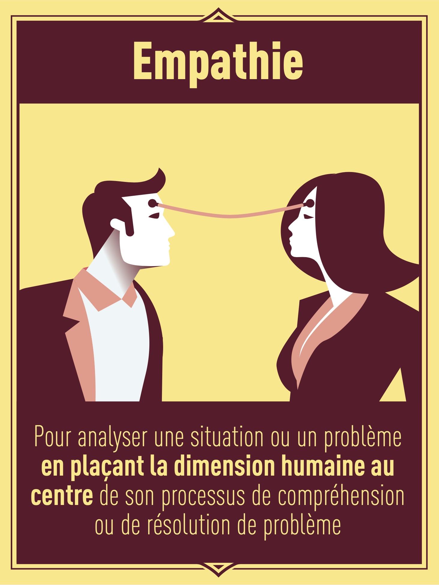 Empathie : pour analyser une situation ou un problème en plaçant la dimension humaine au centre de son processus de compréhension ou de résolution de problème