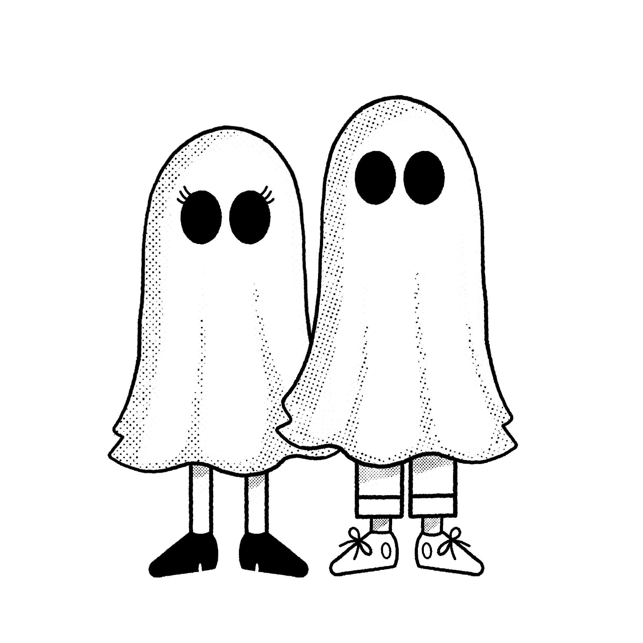 Cartoon ghost illustration of Brandon and Missy