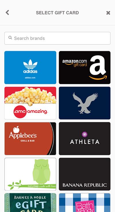 Gift card rewards app