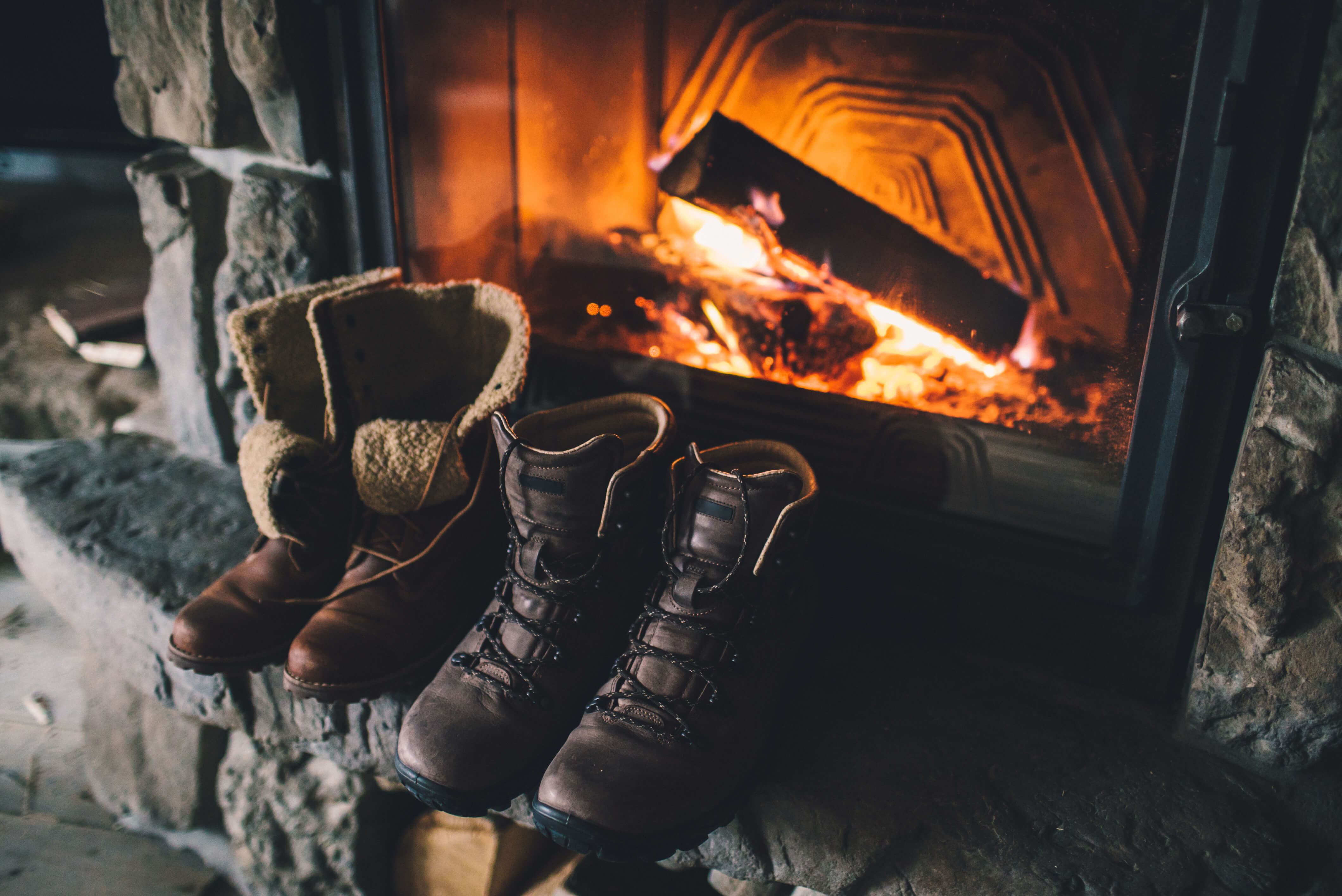 fireplace boots warming