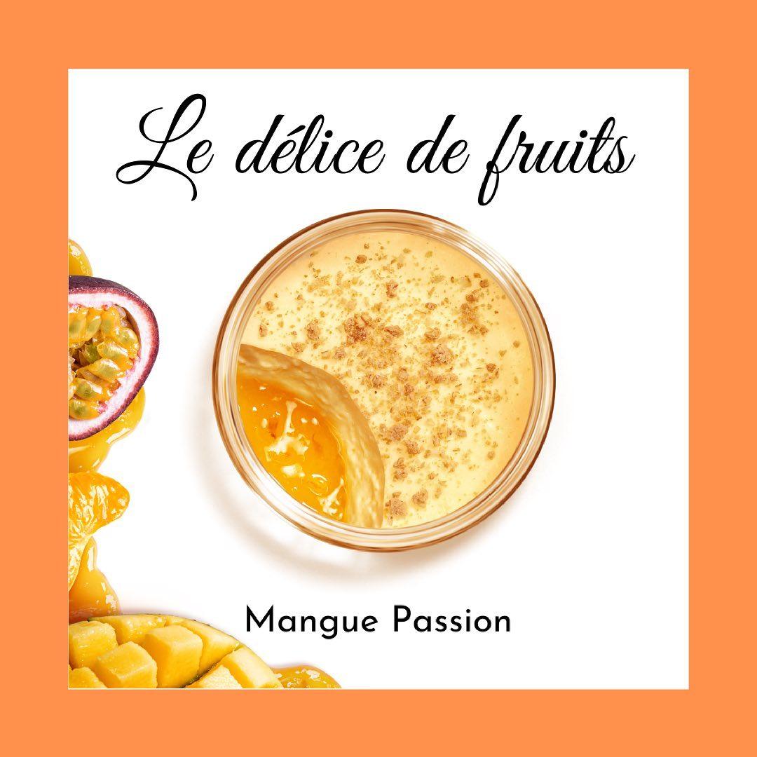 Découvrez le Gü intense de notre nouveau délice de fruits mangue passion. Un dessert à la mangue sur un lit de compotée de fruit de la passion et mandarine, saupoudrée de brisures de biscuits. #gu #gupuds #dessertlover #patisserie #gourmandise #ma...