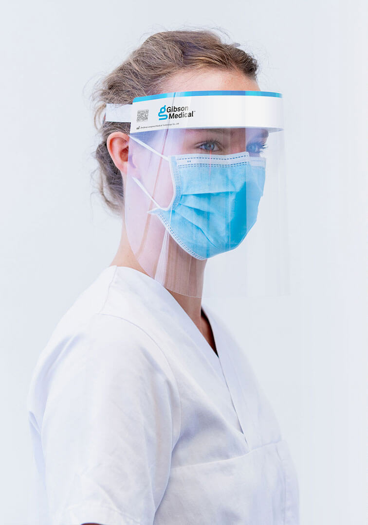 Woman with faceprotection