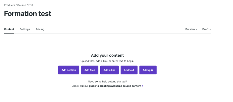 Choix du type de contenu sur Podia