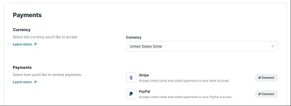 Connecter ses processeurs de paiement sur Podia