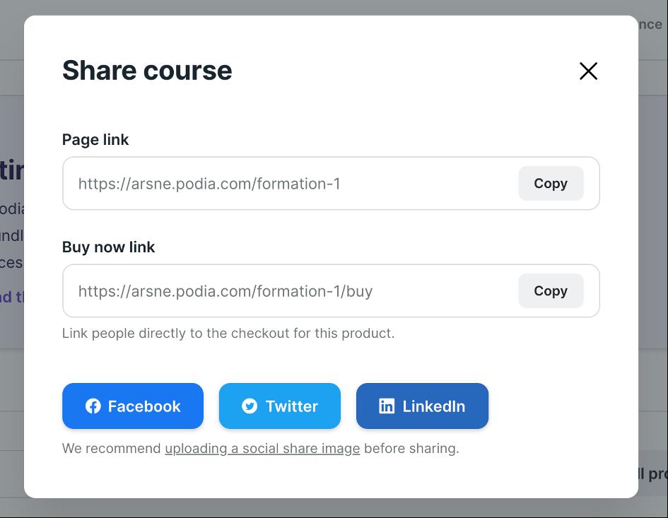 Emplacement des liens pour partager sa formation en ligne