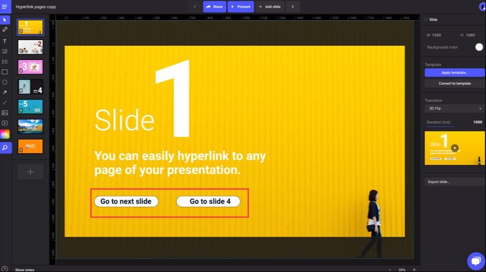 Intégrer des boutons dynamique dans les slides
