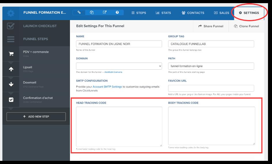 Emplacement des codes de tracking et de suivi dans Clickfunnels