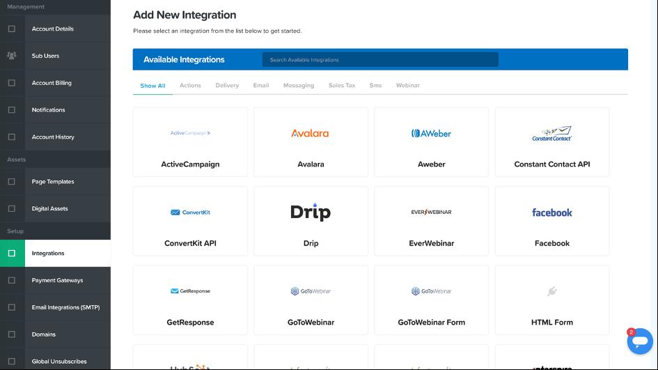 Les intégrations dans Clickfunnels