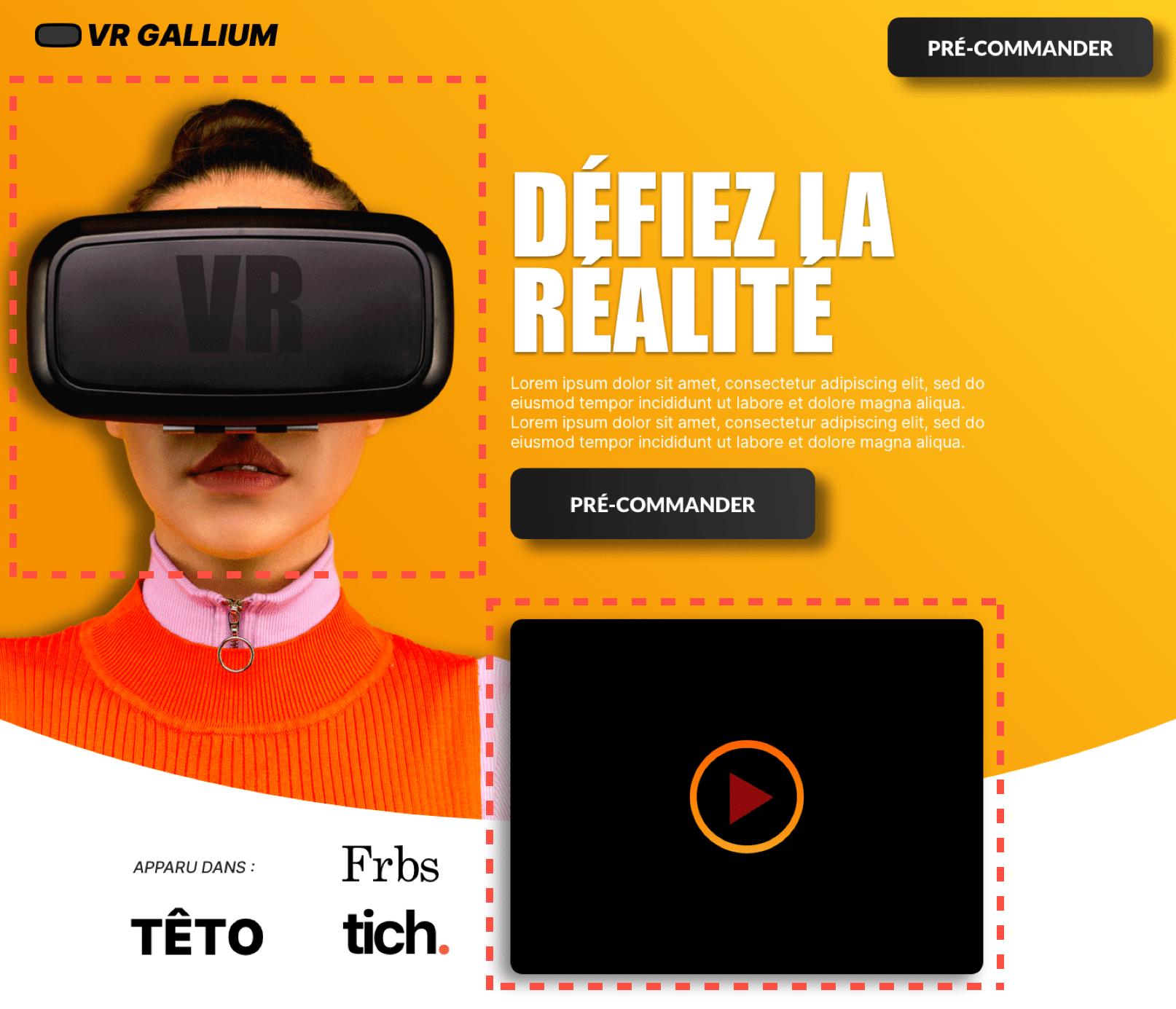 Exemple de page de vente avec un visuel pour attirer l'attention des visiteurs