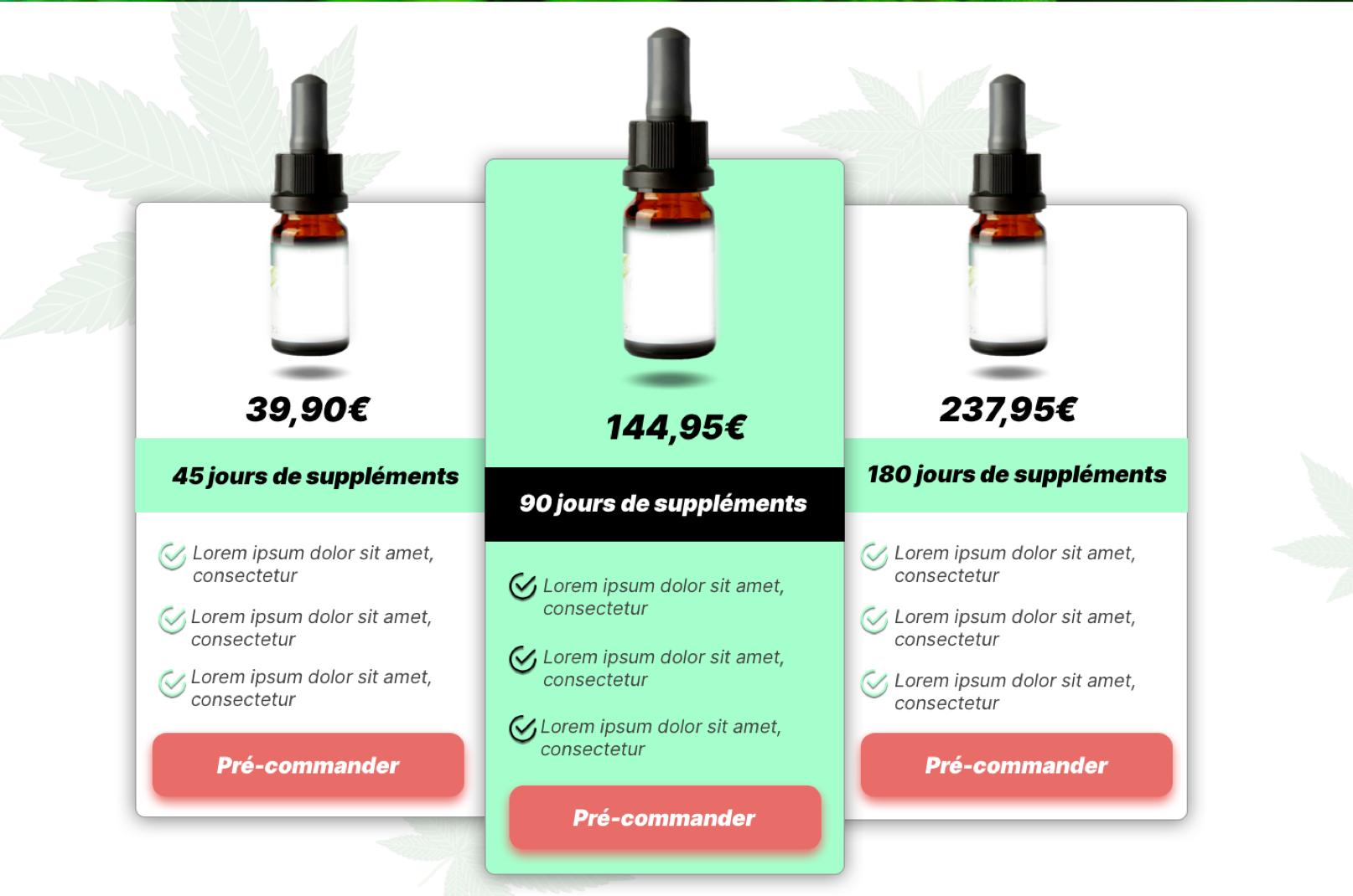Exemple de page de vente avec le détail des tarifs d'un produit