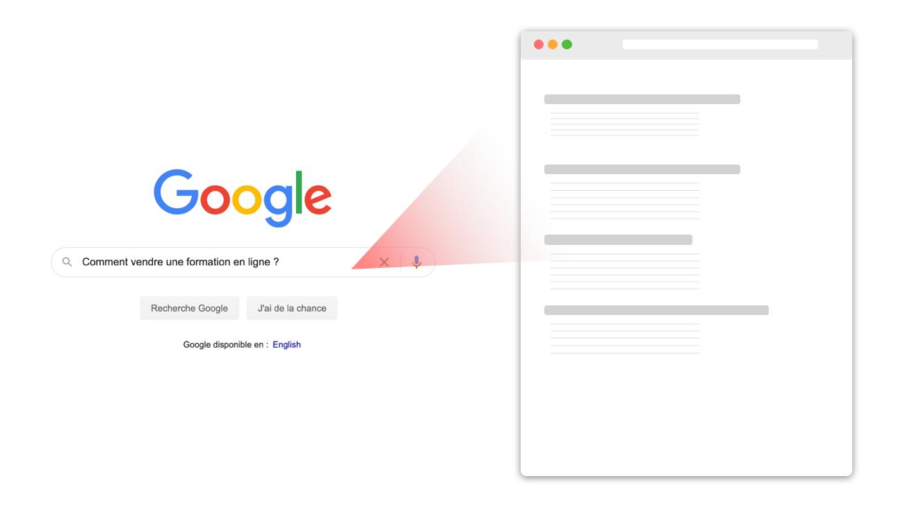 Représentation d'une recherche Google pour le SEO