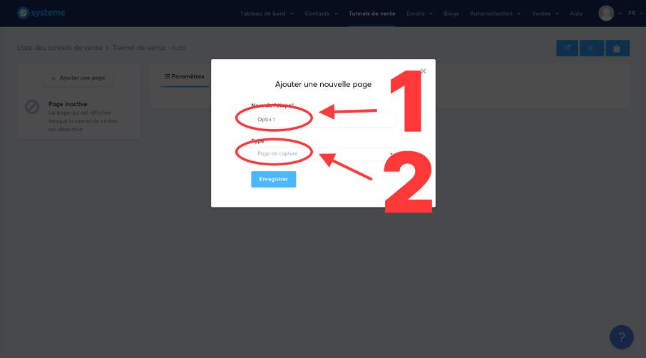 Option pour choisir le type de page : page de capture (optin)