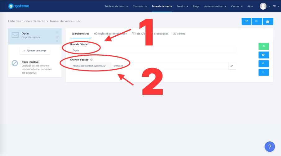 Modification du nom de la page et du chemin de l'URL