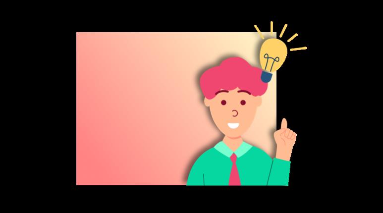 Représentation d'un personnage ayant une idée pour sa prochaine formation en ligne