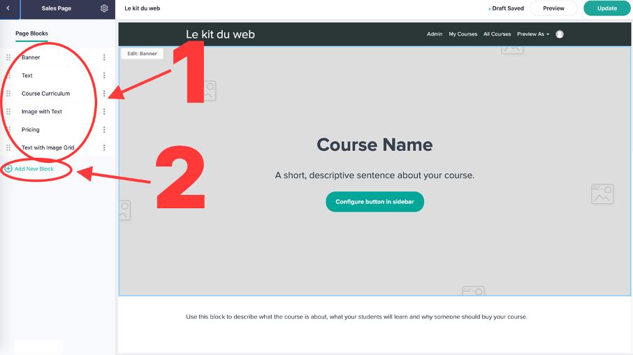 editeur pour personnaliser la page de vente de sa formation en ligne sur Teachable