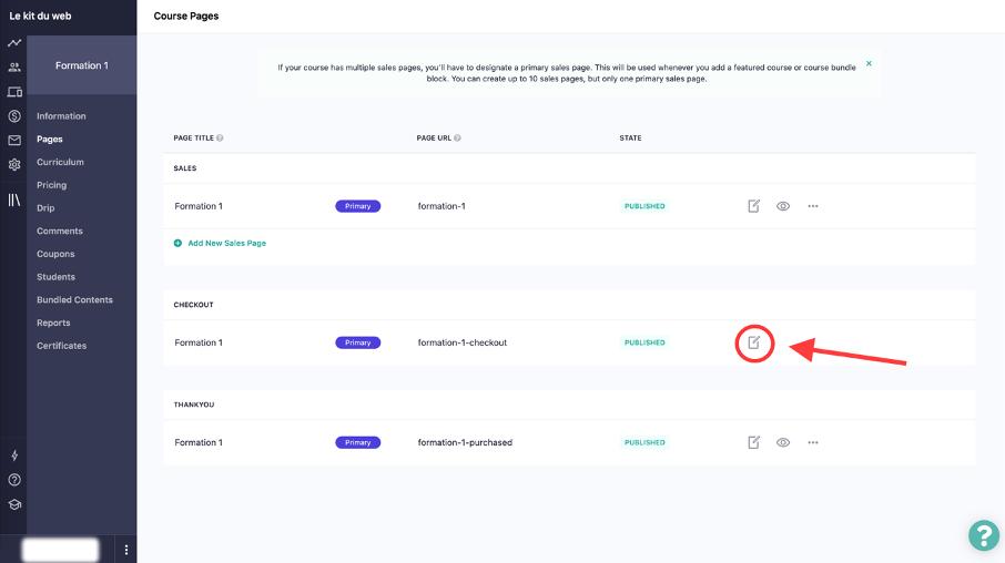 bouton pour personnaliser le bon de commande dans Teachable