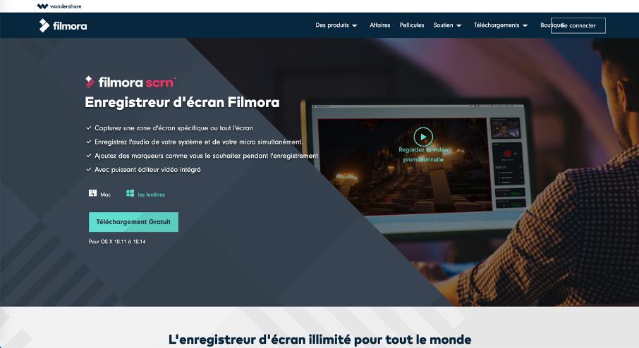 Page d'accueil du logiciel Filmora Screen