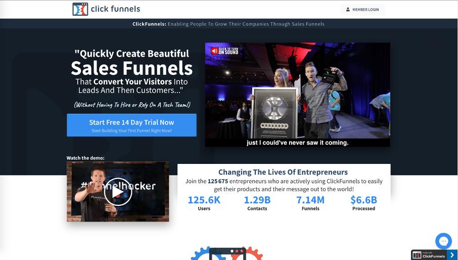 Page d'accueil du logiciel Clickfunnels
