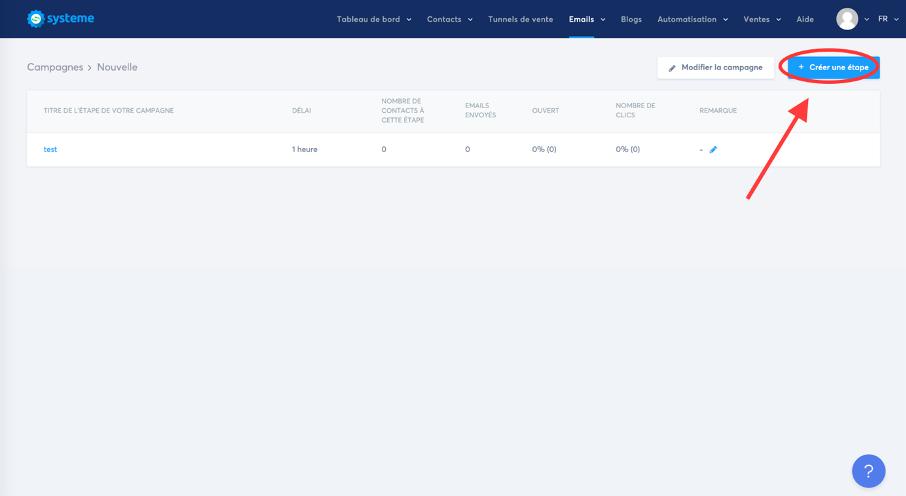 Bouton pour créer une nouvelle étape dans sa séquence email sur Systemei.io