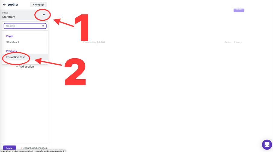 Sélection du produit créé dans Podia