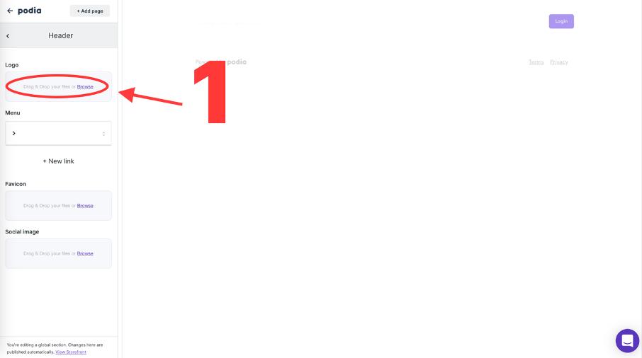 champ pour ajouter un logo à sa boutique de formation en ligne