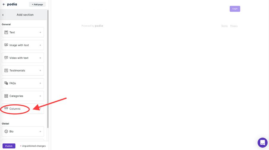 bloc de type de colonne dans l'éditeur de Podia