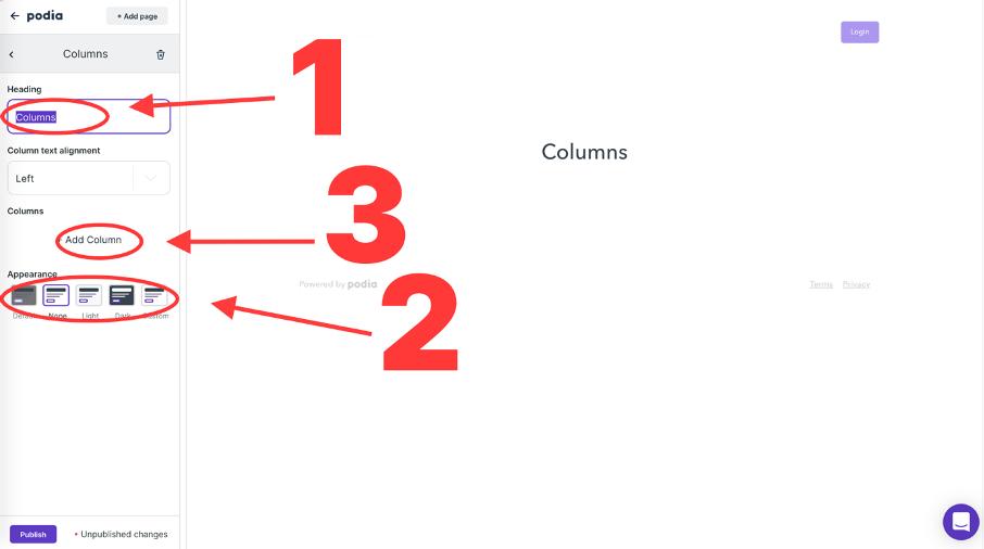 Champs de personnalisation d'une colonne
