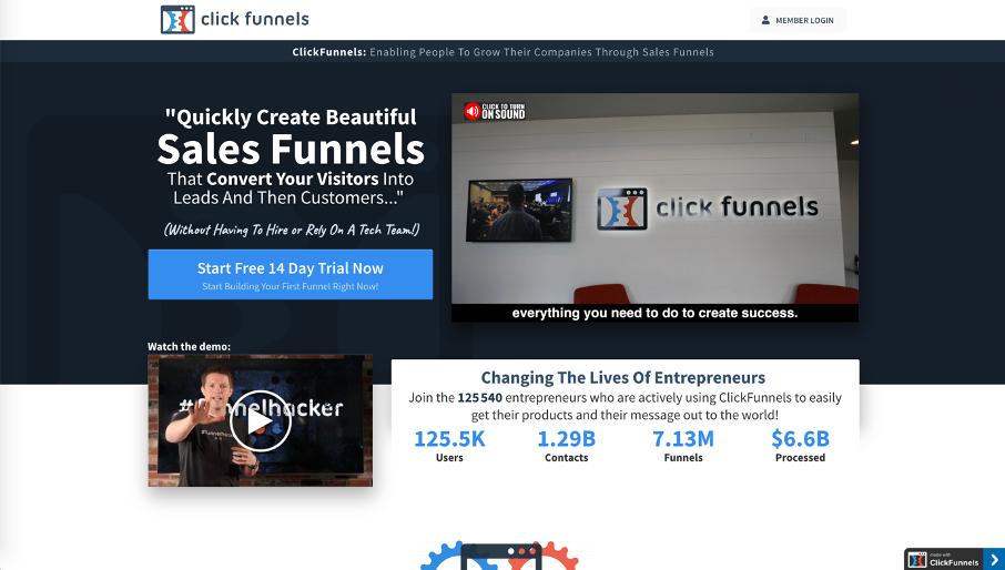 Page d'accueil de Clickfunnels