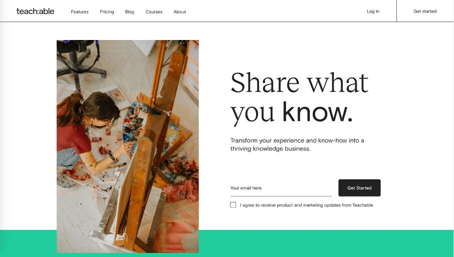 Page d'accueil de Teachable