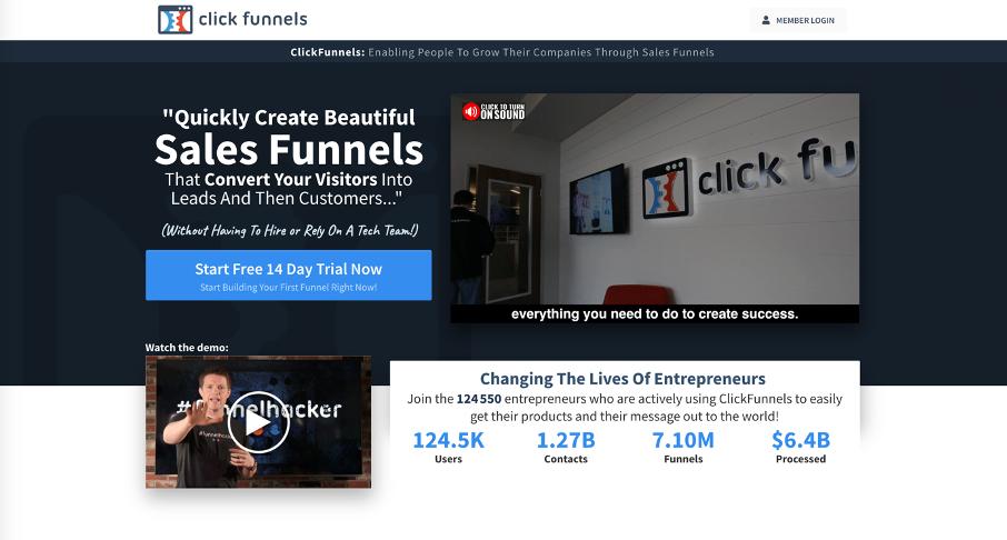 Page d'acceuil de Clickfunnels