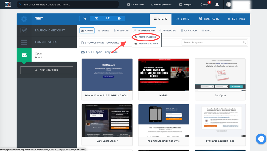 onglet pour créer une page de connexion à une espace membre