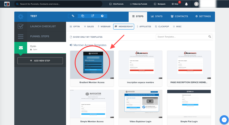 Choix d'un modèle de page pour la page d'accès