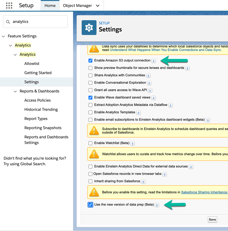 Enable beta features on Analytics Settings Setup page