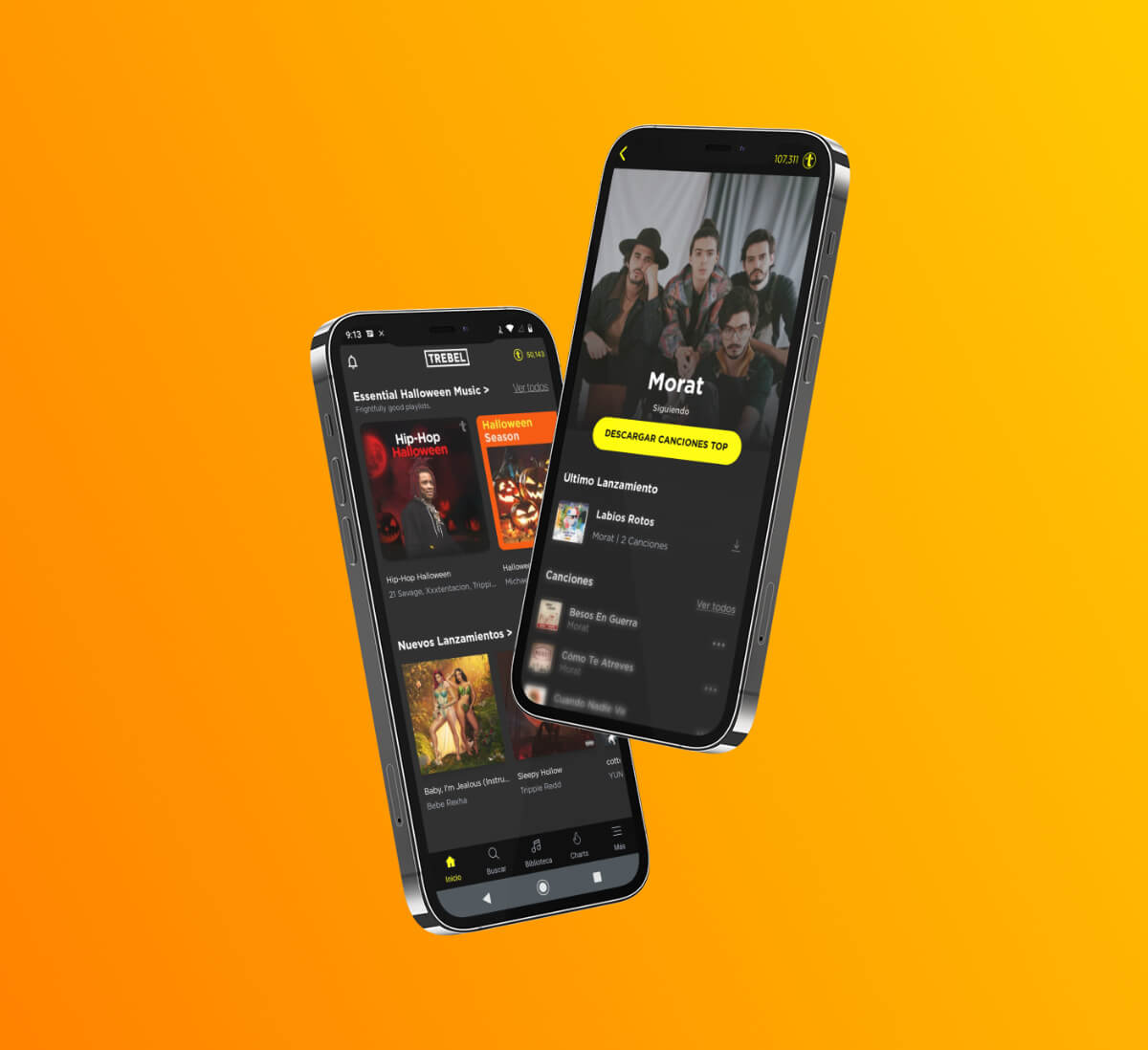 TREBEL app screens on iPhones showing Morat artist page and playlists