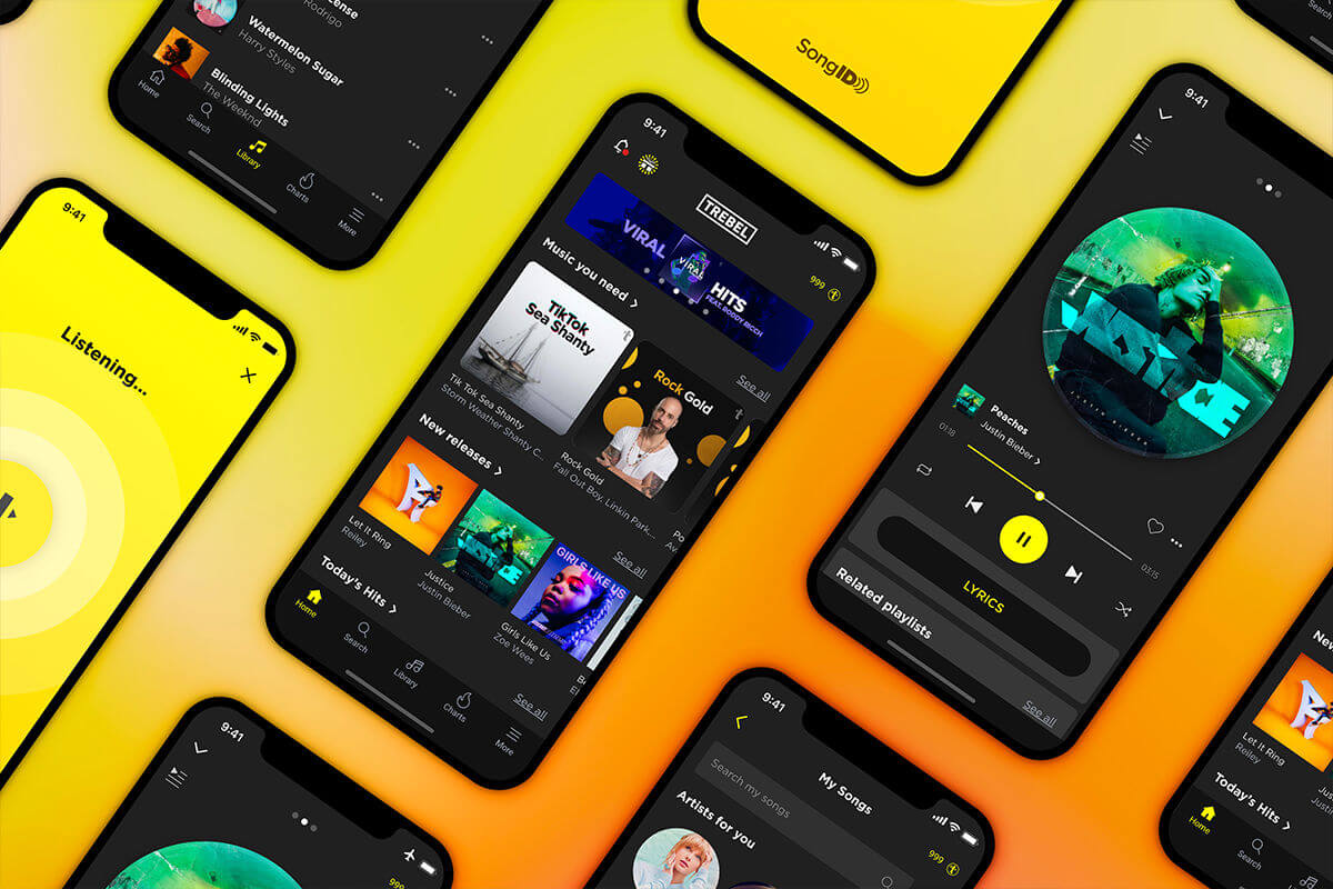 TREBEL app showing playlists and new releases