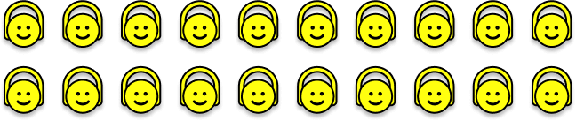 Smiley faces showing TREBEL's potential market, 5x that of the paid market