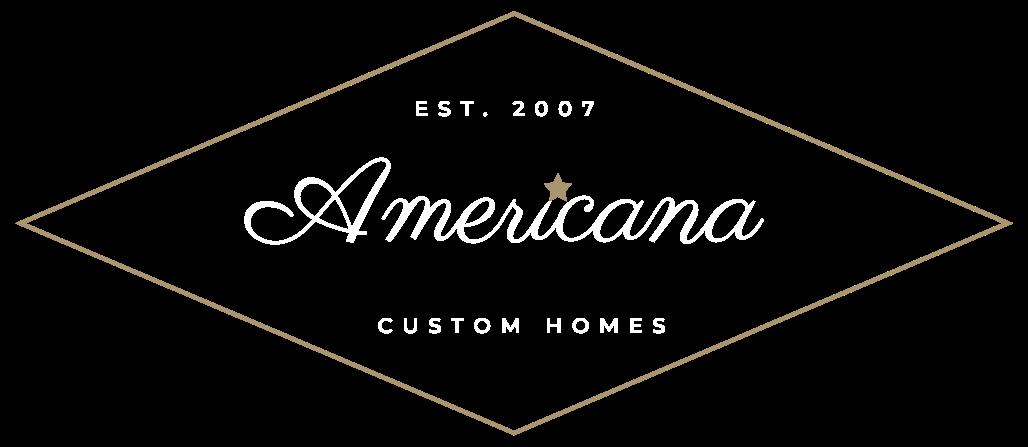 Americana Custom Homes logo with diamond, star and custom font on transparent background
