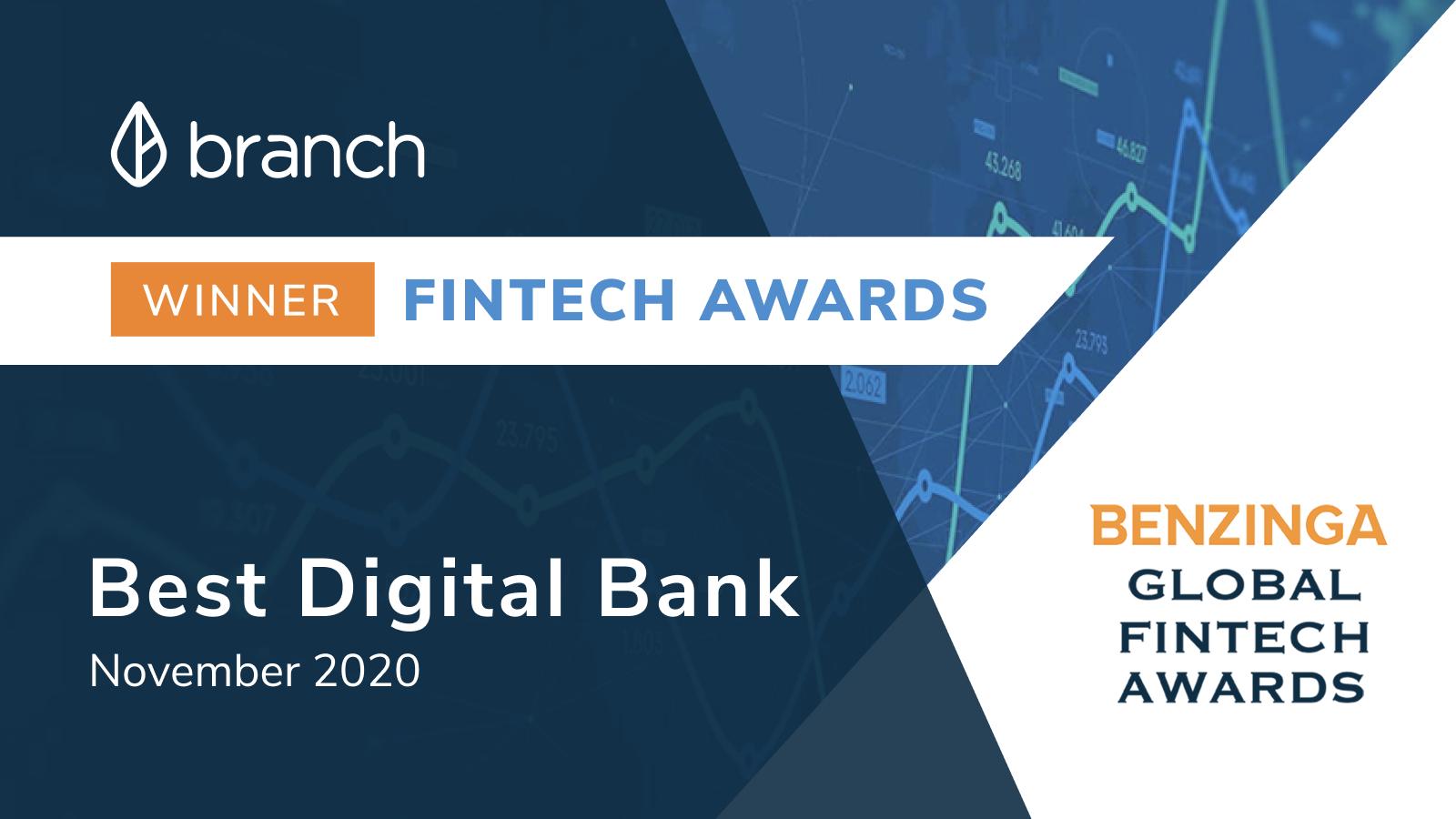 Branch Recognized as 2020 Benzinga Fintech Awards Winner