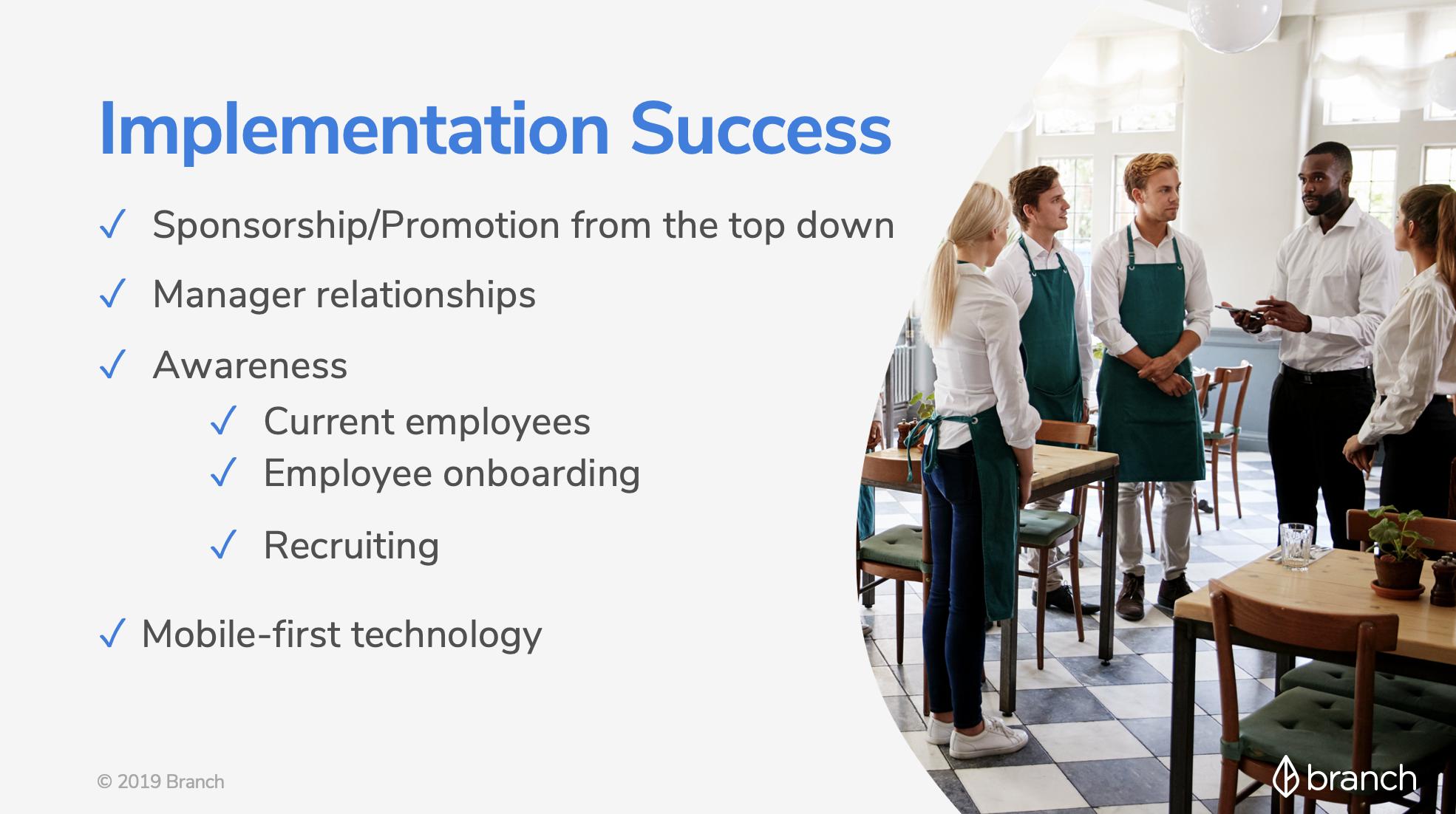 EWA Implementation Success Checklist