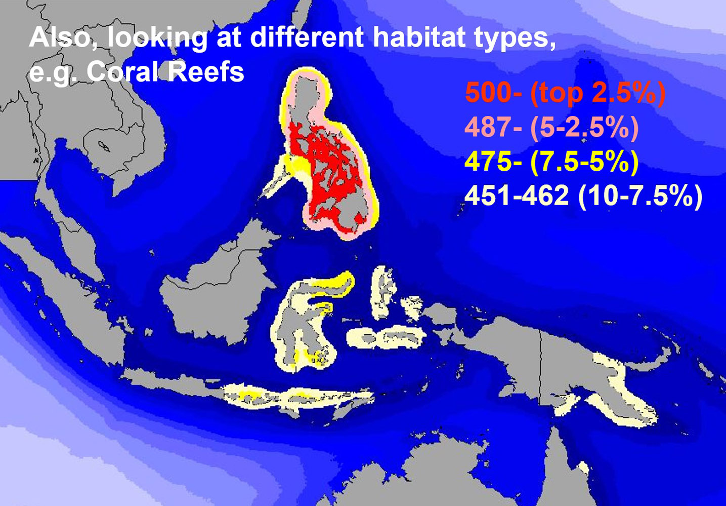 Image 4 of Dr. Kent Carpenter and Dr. Victor Springer's 2005 scientific research paper after overlaying nearly 2,983 species distribution Indo-Pacific maps that concluded the Philippines as the center of marine species richness in the Coral Triangle.
