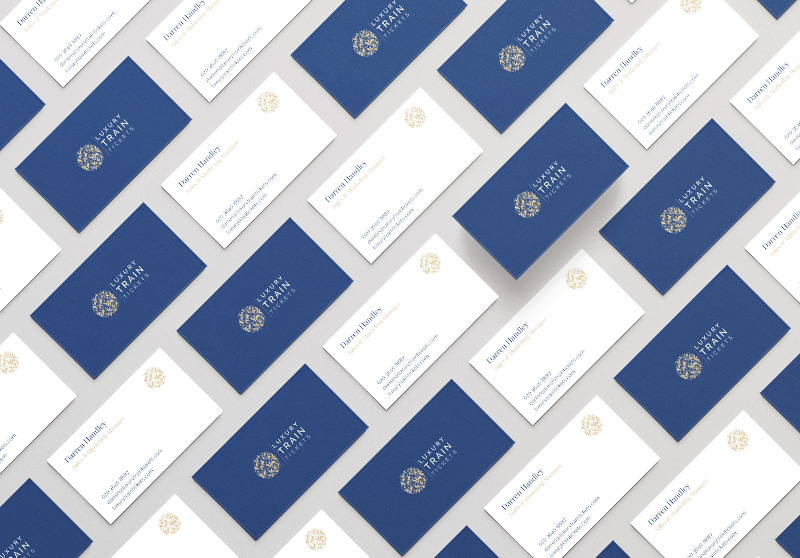 Luxury Train Tickets Business Cards