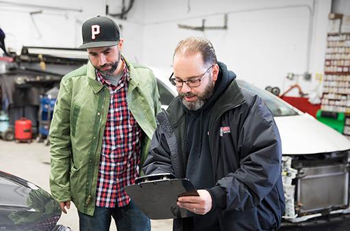 Insurance adjust with customer