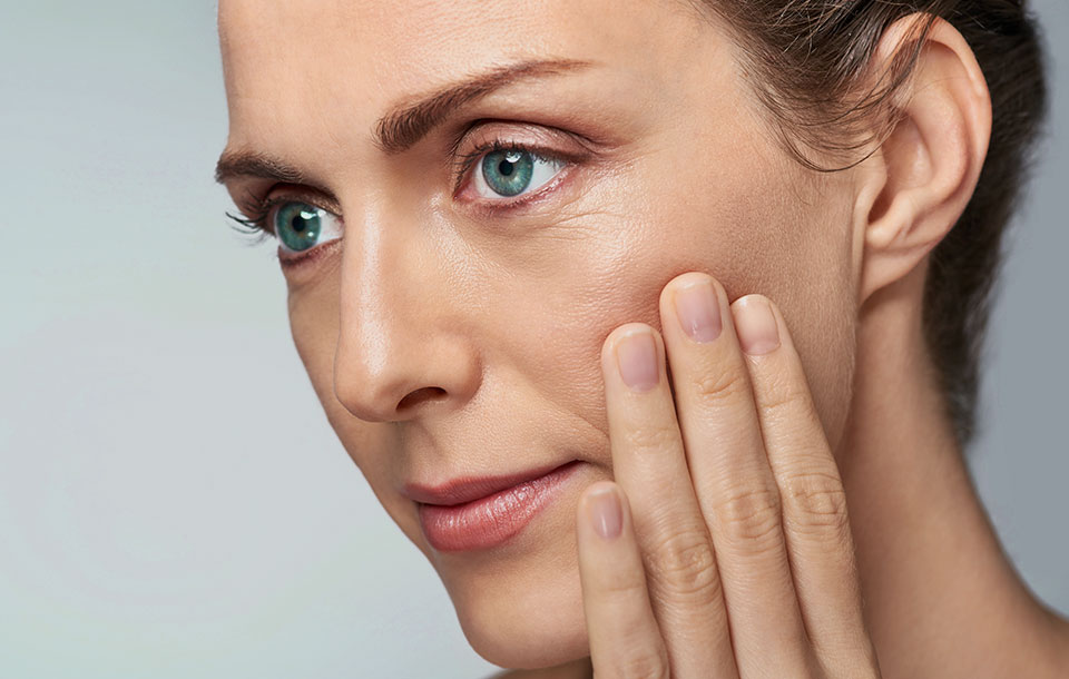 Gracefully aging woman with beautiful skin