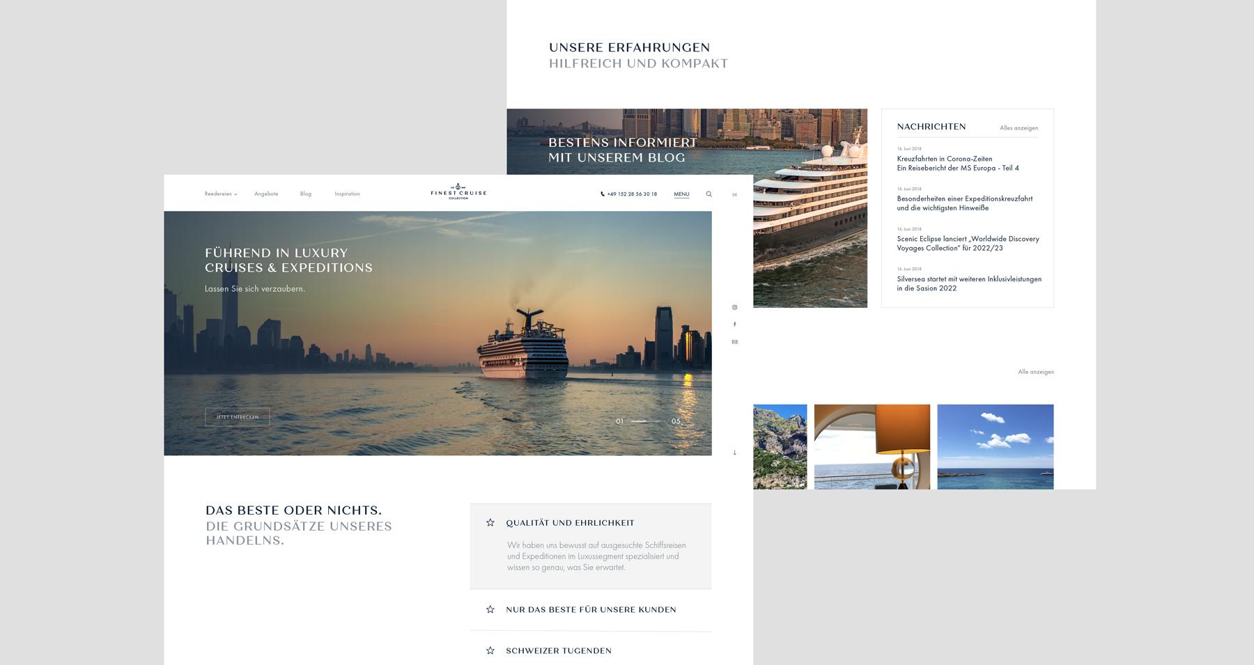 Markenentwicklung und Webseite für Finest Cruise Collection.