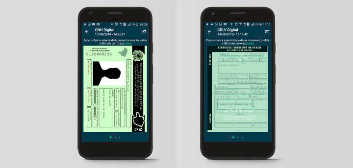 Telas de celular mostrando aplicativo CNH Digital