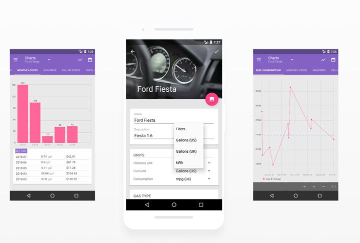 Interface do aplicativo de celular Fuelio