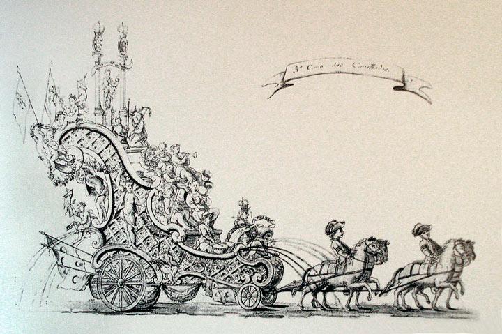 Desenho em bico de pena de primeiro carro alegórico brasileiro, criado por Antônio Francisco Soares