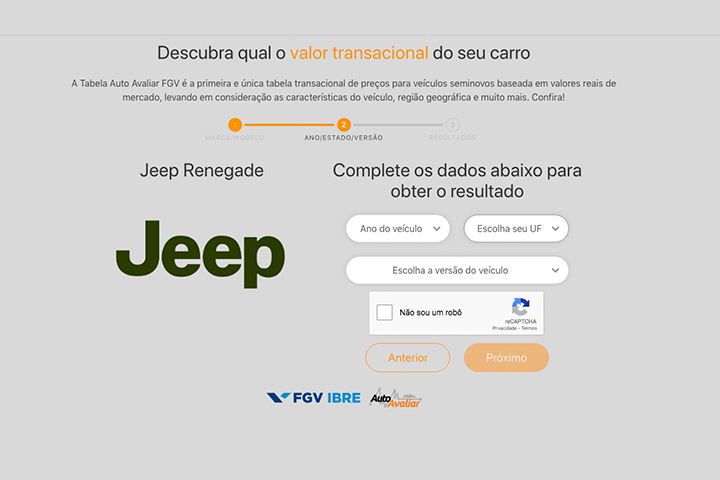 Sistema de consulta de preços de carros da Auto Avaliar