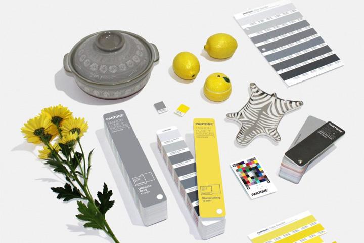 Vários objetos - panela, flores, limões, vasilha e tabelas Pantone - nas cores Pantone 2021