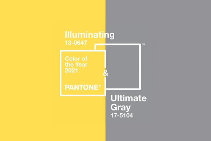 Cores Pantone do ano 2021 dividindo imagem em 2 lados